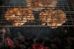 Свежее мясо на гриле outdoors Стоковое фото RF