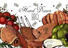 Свежее мясо, рука нарисованное собрание Иллюстрация штока