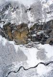 Свежее падение снега в французскую высокогорную зону Haute Savoir Франции Стоковые Фото