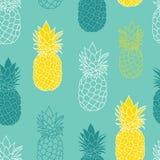 Свежее повторение безшовное Pattrern вектора ананасов желтого цвета голубого зеленого цвета большой для ткани, упаковывающ, обои, иллюстрация вектора