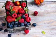Свежее смешивание ягод в коробке металла на белой каменной предпосылке Стоковые Фото