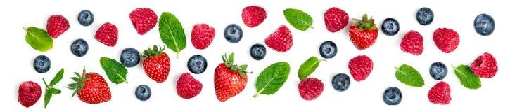 Свежее смешивание ягод изолированное на белой предпосылке Орнамент ягоды стоковые фото
