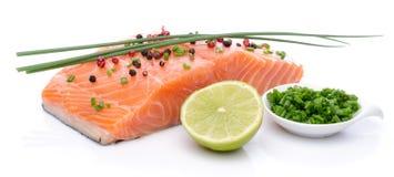 Свежее сырцовое salmon филе с травами, лимоном и специей Стоковое Изображение