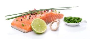 Свежее сырцовое salmon филе с травами, лимоном и специей Стоковые Фото