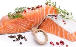 Свежее сырцовое salmon филе с травами и специей Стоковые Фотографии RF