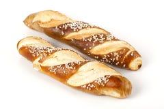 Свежее Laugenstangerl - немецкое, австрийский хлеб крена Стоковые Изображения