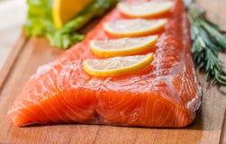 свежее salmon филе с ароматичными травами, специями Стоковая Фотография