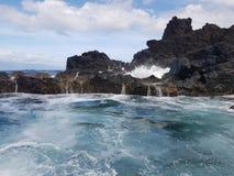 Свежесть вод в естественных бассейнах в острове Pico, Азорских островах, Португалии - сентябре 2016 Стоковое Фото