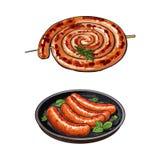 Свеже зажаренные, barbequed сосиски длинные и короткие бесплатная иллюстрация
