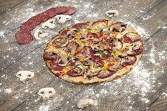 Свеже испеченная домодельная пицца Стоковая Фотография
