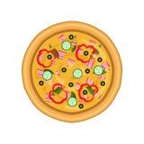 Свеже испеченная пицца с салями, огурцом, ветчиной, перцем и оливками, иллюстрацией вектора взгляд сверху на белой предпосылке иллюстрация штока