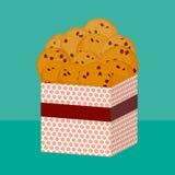 Свеже испеченное печенье обломока шоколада, 4 печеньям Присутствующая розовая подарочная коробка с печеньями Яркие цвета на зелен бесплатная иллюстрация