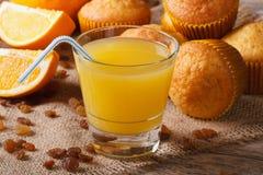 Свеже испеченные булочки с изюминками и апельсиновым соком, горизонтальными Стоковое Изображение