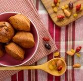 Свеже испеченные домодельные булочки с изюминками и гайками клюквы на салфетке Стоковое Изображение
