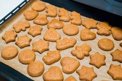 Свеже испеченные печенья пряника шоколада на листе выпечки на листе выпечки Стоковые Изображения RF
