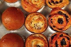Свеже испеченные плюшки с кокосом, изюминками и семенами сезама, взглядом p ¾ 'Ð Ñ Стоковая Фотография