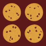 Свеже испеченный комплект печенья обломока шоколада, 4 печеньям на предпосылке темного коричневого цвета Яркие цветы вектор бесплатная иллюстрация