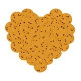 Свеже испеченный комплект печенья обломока шоколада сердца, 4 печеньям на белой предпосылке Яркие цветы вектор иллюстрация штока