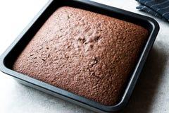 Свеже испеченный торт губки шоколада в квадратной прессформе Стоковые Фото