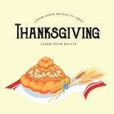 Свеже испеченный хлеб лежит на полотенце, печенье на официальный праздник в США в память первых колонистов Массачусетса, поздрави иллюстрация вектора