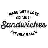 Свеже испеченный ярлык сандвичей бесплатная иллюстрация