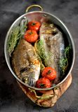 2 свеже испеченных рыбы dorado с тимианом, томатами вишни, красным луком и лимоном в медной сковороде Стоковая Фотография RF