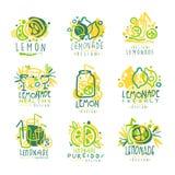 Свеже лимонад, комплект лимона 100 процентов чисто для дизайна ярлыка, руки нарисованные красочные иллюстрации вектора иллюстрация штока
