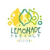 Свеже оригинальный дизайн шаблона логотипа лимонада, красочная рука нарисованная иллюстрация вектора иллюстрация вектора