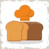Свеже отрезанный испеченный шеф-повар хлеба и шляпы бесплатная иллюстрация