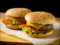 2 свеже сделанных бургера Стоковое Изображение
