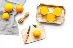 свеже сжатый помеец сока Juicer и куски апельсинов на белом взгляд сверху предпосылки Стоковое фото RF