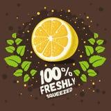 Свеже сжиманный домодельный дизайн лимонада с отрезанным лимоном и иллюстрация штока