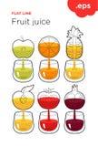 Свеже сжиманный фруктовый сок фрукта и овоща иллюстрация вектора