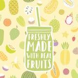 Свеже сделанный с реальными плодоовощами Опарник нарисованный рукой и иллюстрация штока