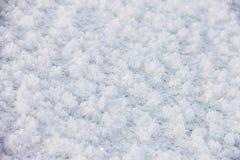 Свеже упаденный снег, изморозь на замороженном реке Стоковая Фотография RF