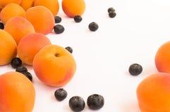 Свежие абрикосы и голубики разбросанные через белую поверхность Стоковая Фотография
