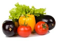 Свежие баклажан, томат и перец Стоковые Фото