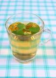 Свежие бальзам лимона и стекло травяного питья на скатерти стоковое фото rf