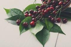 Свежие вишни с зелеными листьями на белой деревенской древесине Стоковая Фотография