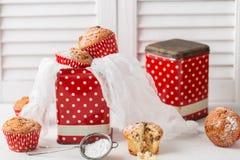 Свежие домодельные очень вкусные булочки с изюминками Стоковое Изображение RF
