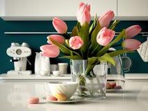 Свежие желтые тюльпаны на предпосылке кухни 3d Стоковые Фотографии RF