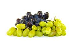 Свежие зеленые черные виноградины на белизне Стоковое Фото