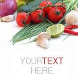 Свежие зеленые овощи на белой предпосылке Стоковые Изображения