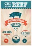 Свежие значки говядины цыпленка и свинины иллюстрация штока