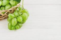 Свежие зрелые зеленые виноградины полили из плетеной корзины на старых деревянных белых планках Стоковые Фотографии RF
