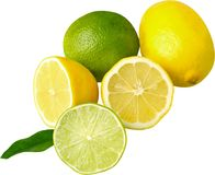 Свежие зрелые лимоны на белой предпосылке Стоковые Фото