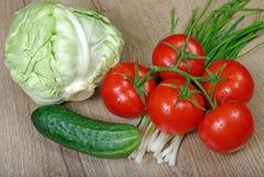 Свежие зрелые овощи - томаты, капуста, зеленые луки и огурец конец вверх Стоковая Фотография