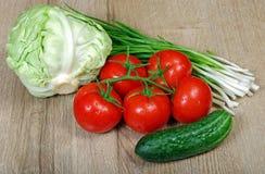 Свежие зрелые овощи - томаты, капуста, зеленые луки и огурец конец вверх Стоковое фото RF