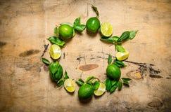 Свежие известки с листьями в форме круга Стоковое Изображение