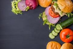 Свежие ингридиенты гамбургера Стоковое Изображение